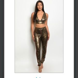 Leopard Gold and Black PU Outfit